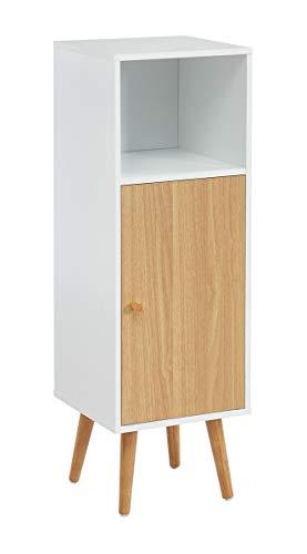 PEGANE Colonne de Rangement Salle de Bain Coloris Blanc/chêne - 30 x 29.5 x 90 cm