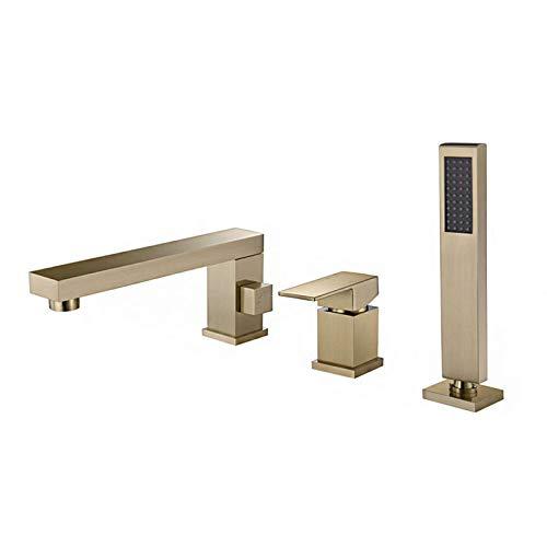 HYZXK Sistema de Ducha Mezclador de baño Dividido en Oro Cepillado Accesorio de baño Juego de 3 Orificios contemporáneo Grifo de baño Ducha de Mano para baño, Dorado