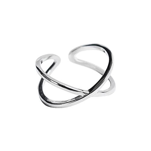 Anillos de compromiso de plata para mujeres Joyas de fiesta geométricas simples creativas