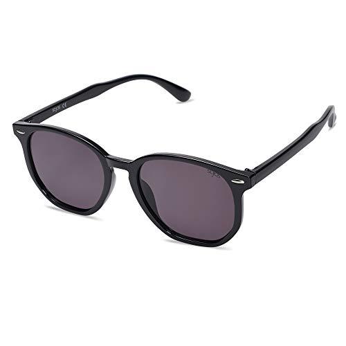 SOJOS Hexagonal Polarisiert Sonnenbrille Herren Damen Uvprotect Sonnenbrille Elie SJ2118 mit Schwarzer Rahmen/Gradiente violette und graue Linse