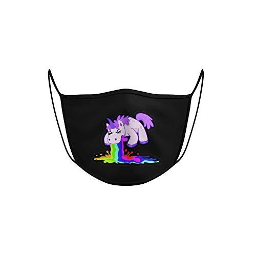 Dilara Lustige Maske wiederverwendbar mit Motiv - Waschbare Baumwollmaske Kotzendes Einhorn (kotzendes Einhorn)