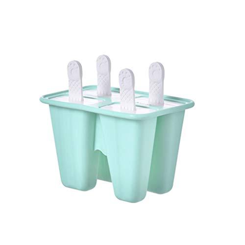 Eisform EIS am Stiel Formen Eiswürfelform, 4 Eisformen Stieleisformer DIY Ice Pop Lolly Popsicle Wiederverwendbar Popsicle Sticks LFGB Geprüft und BPA Frei, Popsicle Molds (Green)