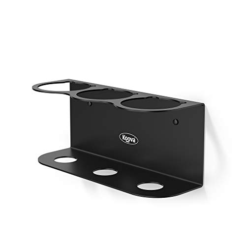 Koova Three Spray Can Holder for Paint, Compressed Air, Lubricant Sprays, and Arts and Crafters Aerosols, Wall Mounted Steel Rack Storage Organizer for Garage and Workspace, Black