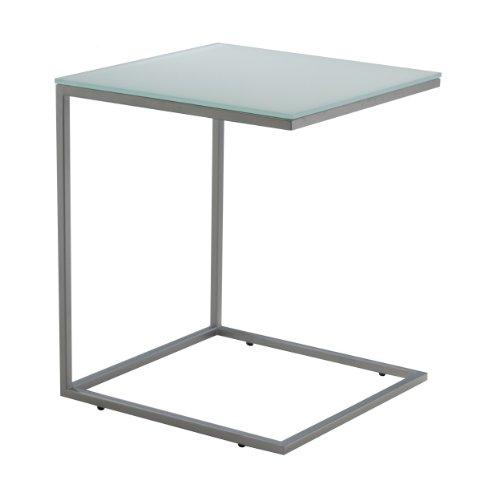 Jan Kurtz, Classico, Beistelltisch, Stahlgestell LUNARSILBER pulverbeschichtet, Platte ESG-Glas WEISS