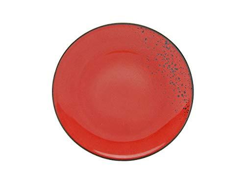 Creatable ER Speiseteller Red 22070 Nature Collection Lot de 6 Assiettes Creuses Grès 27 cm, Rouge