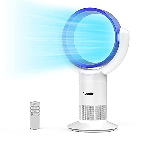 Ventilador de Torre sin Aspas, Ventilador Silencioso con Control Remoto, Oscilación de 90°, 10Velocidades, 9 Horas de Temporizador, Ventilador de Sobremesa para Hogar y Oficina