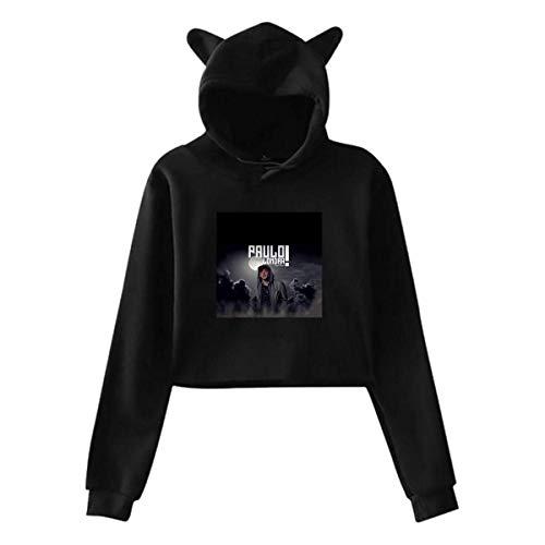 engzhoushi Sudadera con Capucha de Oreja de Gato para Mujer Sudadera Lumbar Paulo Fresh & Flex LON-dra Hooded Black