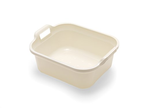 Addis Large Rectangular 9.5 litre Washing up bowl with handles, Linen Cream, 39 x 32 x 14 cm