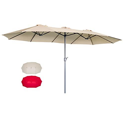 of extra large patio umbrellas AECOJOY 15x9ft Double-Sided Patio Umbrella Outdoor Market Umbrella Large Sunbrella Table Umbrellas with Crank Air Vents for Deck Pool Patio (Beige)