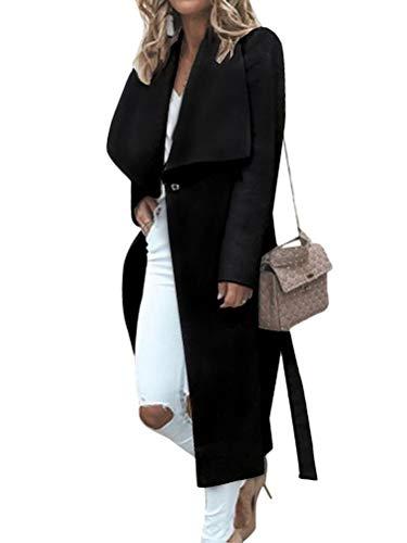 Minetom Damen Trenchcoat Mantel Herbst Winter Elegante Öffnen Lange Blazer Jacke Parka Frauen Cardigan Outwear mit Wasserfall Schnitt A Schwarz 44