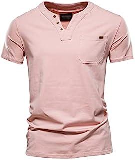 Bsjdhxigjm Shirts for Men Short Sleeve Summer Top Quality Cotton T Shirt Men Solid Color Design V-neck T-shirt Casual Clas...