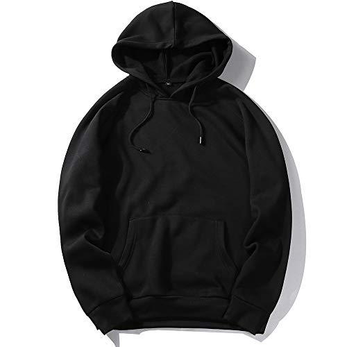 Sudadera con capucha para hombre, talla grande, monocolor, manga larga, con...
