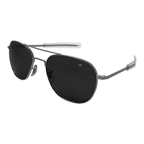 AO Eyewear American Optical - Original Pilot Aviator Sunglasses with Bayonet Temple and Matte Chrome, True Color Grey Glass Lens