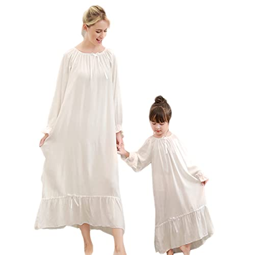 Gagacity Nachthemden für Mädchen Frauen 100% Bequemes Vintage Langes Kleid Nachtwäsche Karneval Nachthemd Mutter und Tochter Partnerlook Kleider