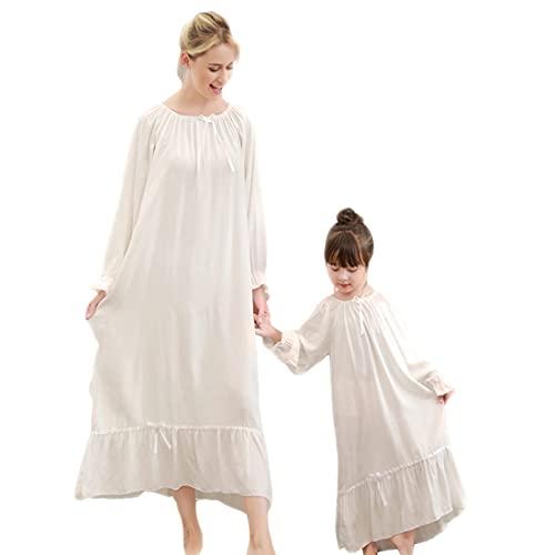 Gagacity Camisones para Niñas Mujeres, 100% Cómodos Vestido Largo Vintage Ropa de Dormir Camisón de Carnaval Madre e Hija Vestidos Blancos a Juego