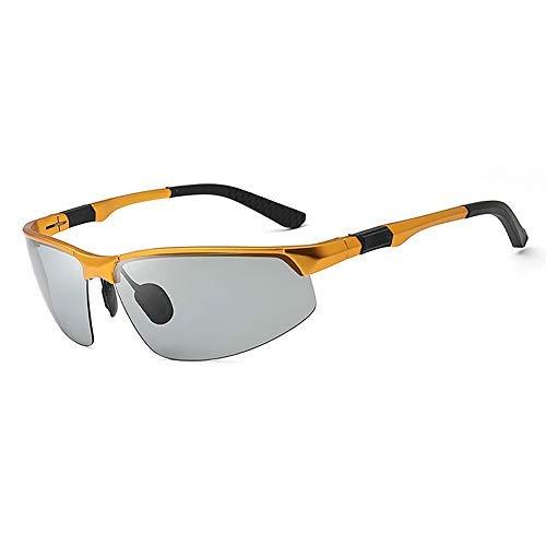 Y-longhair Gafas de sol polarizadas cambio del color de UV protección gafas de sol de conducción deportiva de aluminio y magnesio ultraligero gafas de sol gafas de moda (Color: gris oscuro, tamaño: Li
