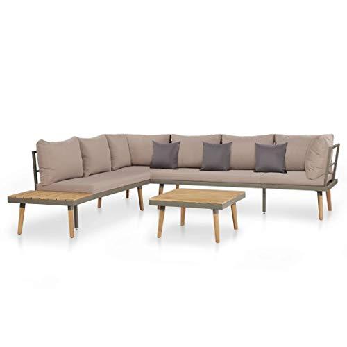Festnight 4-delige Loungeset met Slaapbank van stof Duurzaam hardhouten frame bank met armleuningen kussens massief acaciahout bruin