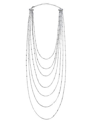 BREIL - Collar en acero pulido Colección SINUOUS con cascada de microcadenas para mujer