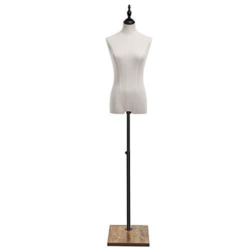 SONGMICS Maniquí Femenino, Busto con Tela de Lino, Soporte de Ropa, Exhibición de Escaparate, Ajustable de Altura, Base de Tablero Rectángulo, Blanco MDF07WT
