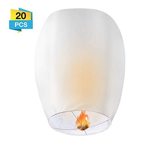 Paper Lanterns, LIUMY 20Pack Chinese Lanterns - Japaneses Lanterns for Weddings, Celebrations, Memorial Ceremonies, White Lanterns