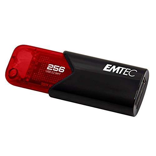 Emtec Clé USB 3.0 (3.2) Click Easy B110, Mémoire Flash Drive De 256 Go, Stockage Externe, Lecture 20Mb/S, Écriture 10Mb/S, Click Easy - 21 X 57 X 12 Mm, Rouge ECMMD256GB113