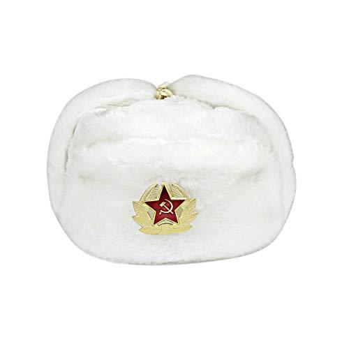 Heka Naturals Ushanka Russische Militärmütze mit Ohrenklappen und abnehmbarem Sowjetischen Abzeichen, Weiße Winter-Pelzmütze, Trapper SkimützeTolles UDSSR Geschenk Durchmesser | Weiße 60 cm