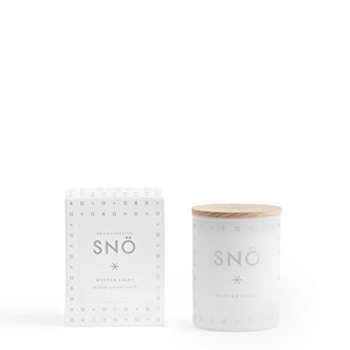 Skandinavisk Snö (Snow) geurkaars mini, met gravure beukenhout deksel 55 g