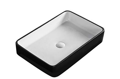 Waschbecken Aufsatzwaschbecken Waschtisch Handwaschbecken Rechteckig Schwarz Weiß hochwertige Keramik Hochglanz mit Lotus Effekt, 60x40 cm Farbe: Rechteckig Schwarz/Weiß