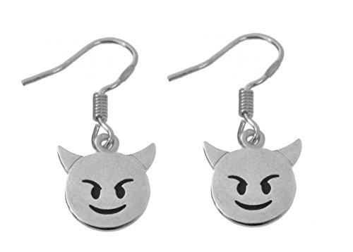 Prince of Diamonds Sterling Silver 925 Earrings Emoji Halloween Devil Bad Smiling Face with Horns