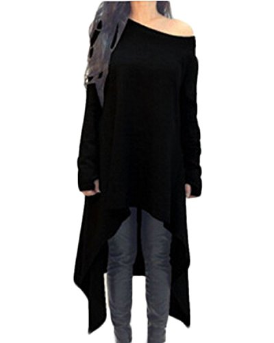ZANZEA Damen Unregelmäßige Strick Oversize Langarm Pullikleid Longshirt Top Minikleid Schwarz EU 42/Etikettgröße L