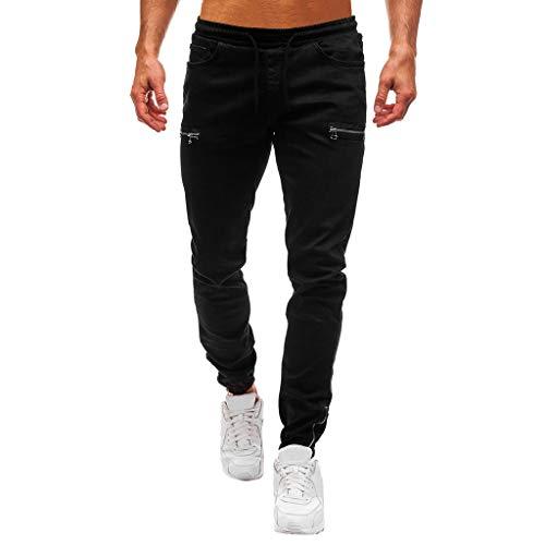 Subfamily Pantalón Slim Denim de Color Liso para Hombre Cotton Vintage Pantalones de Trabajo Jeans Pantalones Algodón de Mezclilla de Lavado de La Vendimia de Hip Hop de Trabajo Pantalones Negro M
