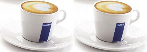 2 X Lavazza Cappuccino/Kaffee/Americano/Porzellan Tassen und Untertassen-Kapazität cc 300, Höhe 68 mm