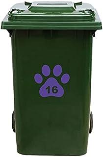 Kliko Sticker/Vuilnisbak Sticker - Hondenpoot - Nummer 16-18x16,5 - Paars