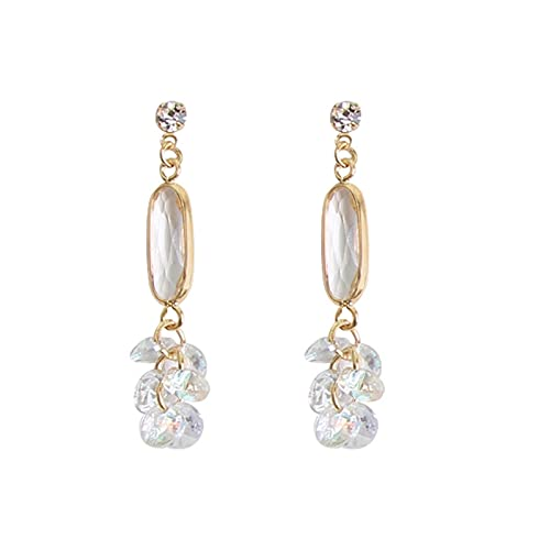 DHDHWL Pendientes de plata S925 con borla de cristal de aguja para mujer, temperamento húmedo, mostrar cara, pendientes finos (color: D)