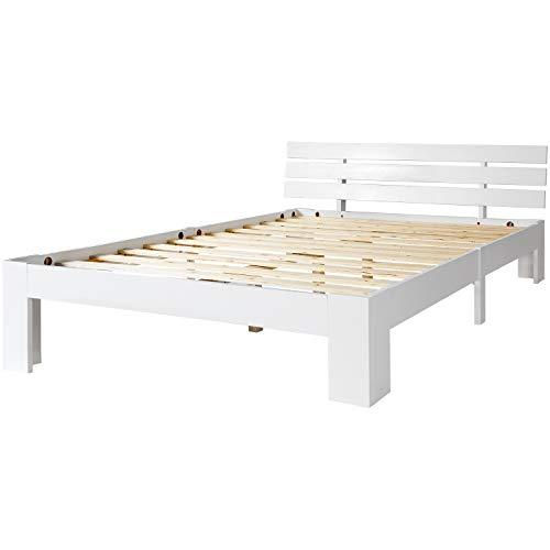 ModernLuxe Massivholzbett in Buche Doppelbett 140 x 200 cm Holzbett Weiss Balkenbett Bettgestell mit Kopfteil und Lattenrost, als Seniorenbett geeignet, Komfortbett mit Rückenlehne Bett Weiß