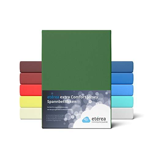 etérea Extra Jersey Spannbettlaken 90x200 bis 100x220 cm - Spannbetttuch für Boxspringbetten, Wasserbetten und Normale Matratzen, aus 100% Baumwolle und ca. 35 cm Steghöhe, Kaktus