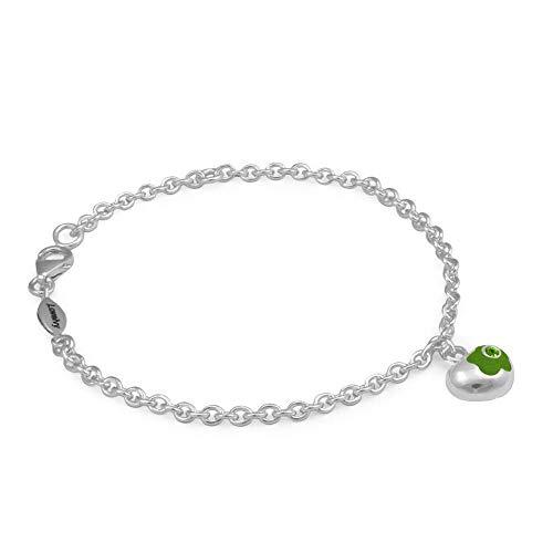 Sterling Silver Simulated August Birthstone Flower Heart Charm Girls Bracelet