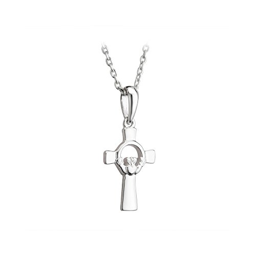 Claddagh Celtic Cross Necklace Sterling Silver Confirmation Irish Made
