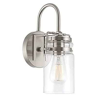 "Kira Home Wyer 11.5"" Modern Industrial Wall Sconce + Clear Glass Jar Shade, Dimmable, Brushed Nickel Finish"