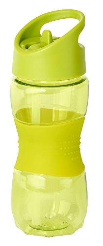 Thermo Rex Trinkflasche Grip | 400ml | grün | BPA-freier Kunststoff | nahezu bruchsicher u wiederverwendbar – mit integriertem Strohhalm |Wasserflasche