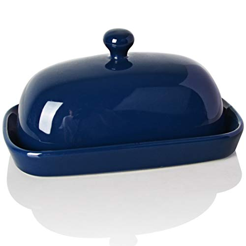 SWEEJAR Ceramics Butter Dish with Lid,East/West Coast Butter,7 inches