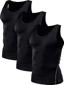 Neleus Men s Athletic 3 Pack Compression Under Base Layer Sport Tank Top,Black,2XL,EUR 3XL