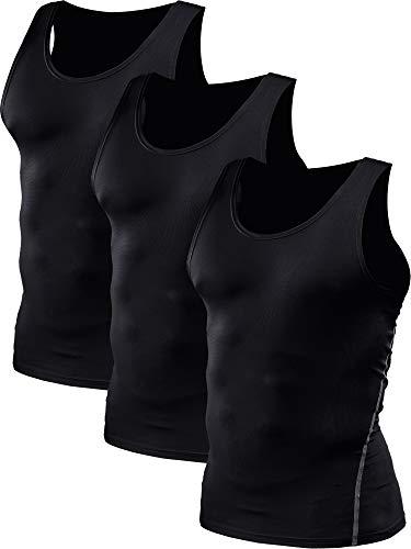 Neleus Men's Athletic 3 Pack Compression Under Base Layer Sport Tank Top,Black,L,EUR XL