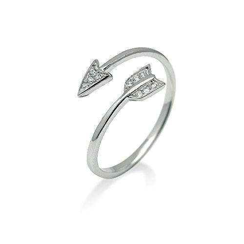 HANFLY 925 Sterling Silver Arrow Ring Fashion Adjustable Ring Minimalist Jewelry