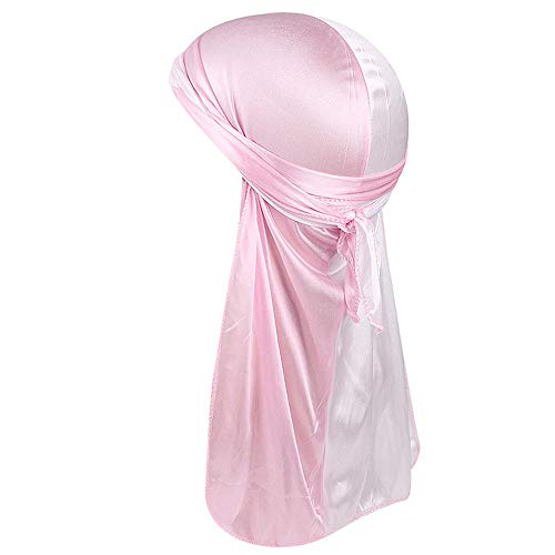 UJUNAOR Damen Seide Satin Skorpion Pirate Cap Turban Hut Frauen Männer Retro Patchwork Schal Wrap Krempe Cap Pile Caps(Rosa)