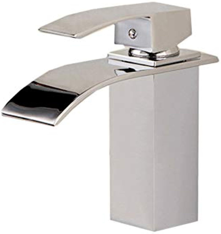 Floungey BadinsGrößetionen Waschtischarmaturen Küchenarmaturen Wasserfall Wasserhahn Tetragonalen Wasserfall Wasser Kupfernen Krper Heies Und Kaltes Wasser Waschbecken Becken Wasserhahn
