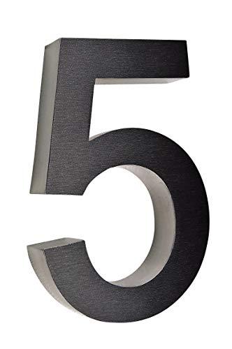 5 Hausnummer 3D Edelstahl V2A diamant - anthrazit Höhe 25 cm Arial XXL Größe wetterfest rostfrei V2A im Shop 0 1 2 3 4 5 6 7 8 9 a b c (5)