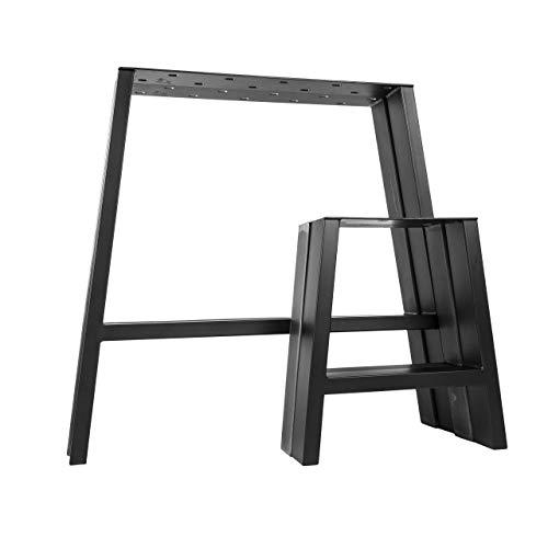 2x Natural Goods Berlin Design Tischkufen viele Modelle Metall Tischbeine | Tischgestell aus Stahl | geineigt, Trapez | Esstisch, Schreibtisch, Couchtisch, Bank (A-FORM - H42cm, Schwarz)