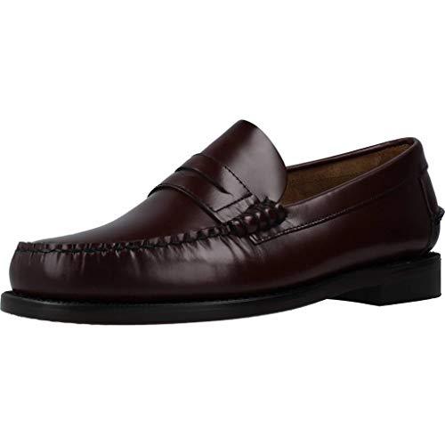 Sebago Classic 76654, zapato mocasín hombre, color burdeos, piel, 46