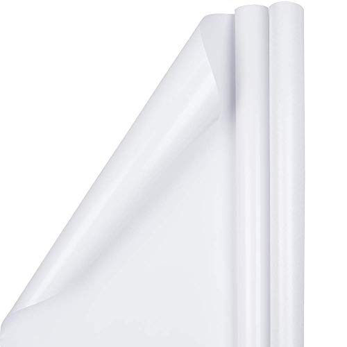 JAM PAPER Gift Wrap - Glossy Wrapping Paper - 25 Sq Ft per Roll - White - 2/Pack